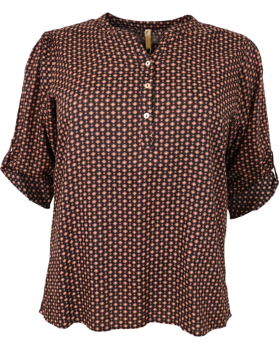Cassiopeia - skjorte - sort med blomster - Str. 42/44-54 - IBENA