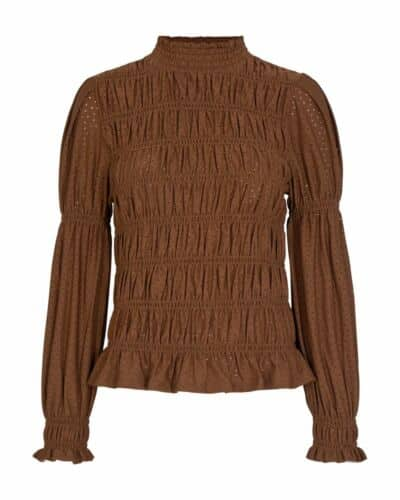 Freequent brun highneck bluse FQBLOND